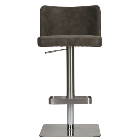 Cortesi Home Hercules Adjustable Barstool in Brushed Stainless Steel with Heavy Solid Base, Retro Grey