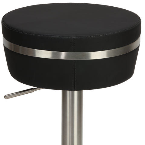 Image of Cortesi Home Athena Premium Adjustable Backless Round Barstool in Brushed Stainless Steel with Heavy Solid Base, Black