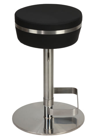 Cortesi Home Athena Premium Adjustable Backless Round Barstool in Brushed Stainless Steel with Heavy Solid Base, Black