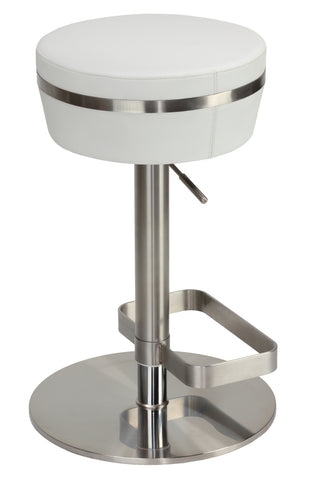 Image of Cortesi Home Athena Premium Adjustable Backless Round Barstool in Brushed Stainless Steel with Heavy Solid Base, Snow White