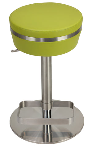 Cortesi Home Athena Premium Adjustable Backless Round Barstool in Brushed Stainless Steel with Heavy Solid Base, Green