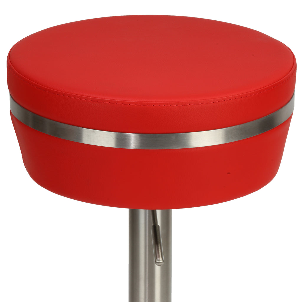 Cortesi Home Athena Premium Adjustable Backless Round Barstool in Brushed Stainless Steel with Heavy Solid Base, Red
