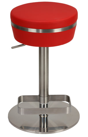 Image of Cortesi Home Athena Premium Adjustable Backless Round Barstool in Brushed Stainless Steel with Heavy Solid Base, Red