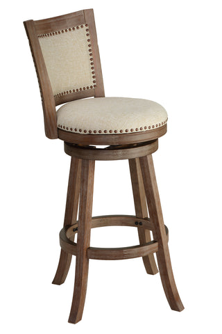 "Cortesi Home Marko Bar Stool Beige Fabric Swivel Seat with Padded Back, 29"" Seat"