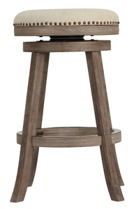 Cortesi Home Piper Backless Swivel Bar Stool in Solid Oak Wood and Beige Fabric, 30