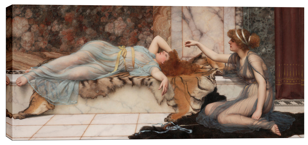 "Epic Graffiti ""Mischief and Repose"" by John William Godward Giclee Canvas Wall Art, 12"" x 26"""