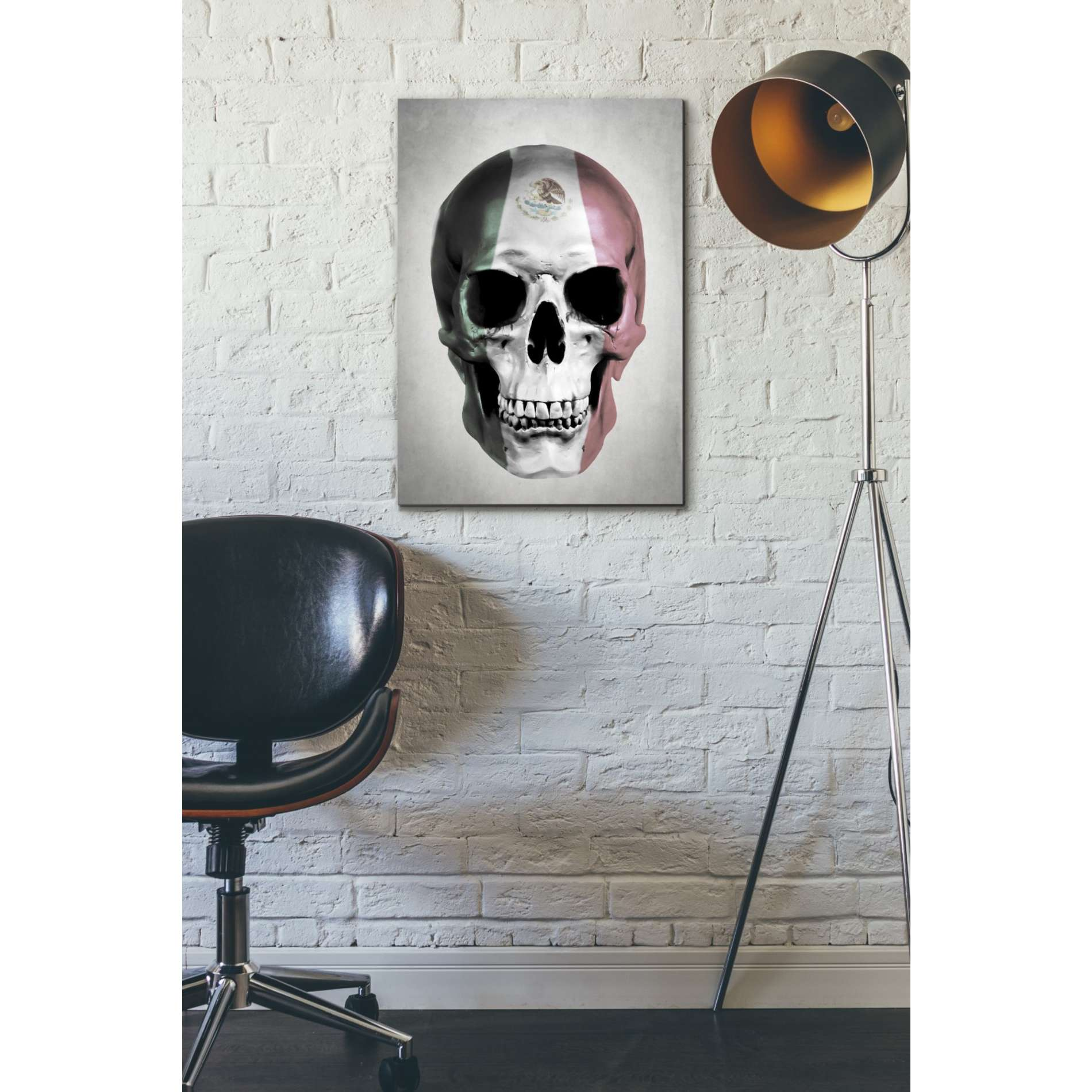 "Cortesi Home ""Mexican Skull Grey"" by Nicklas Gustafsson, Giclee Canvas Wall Art"