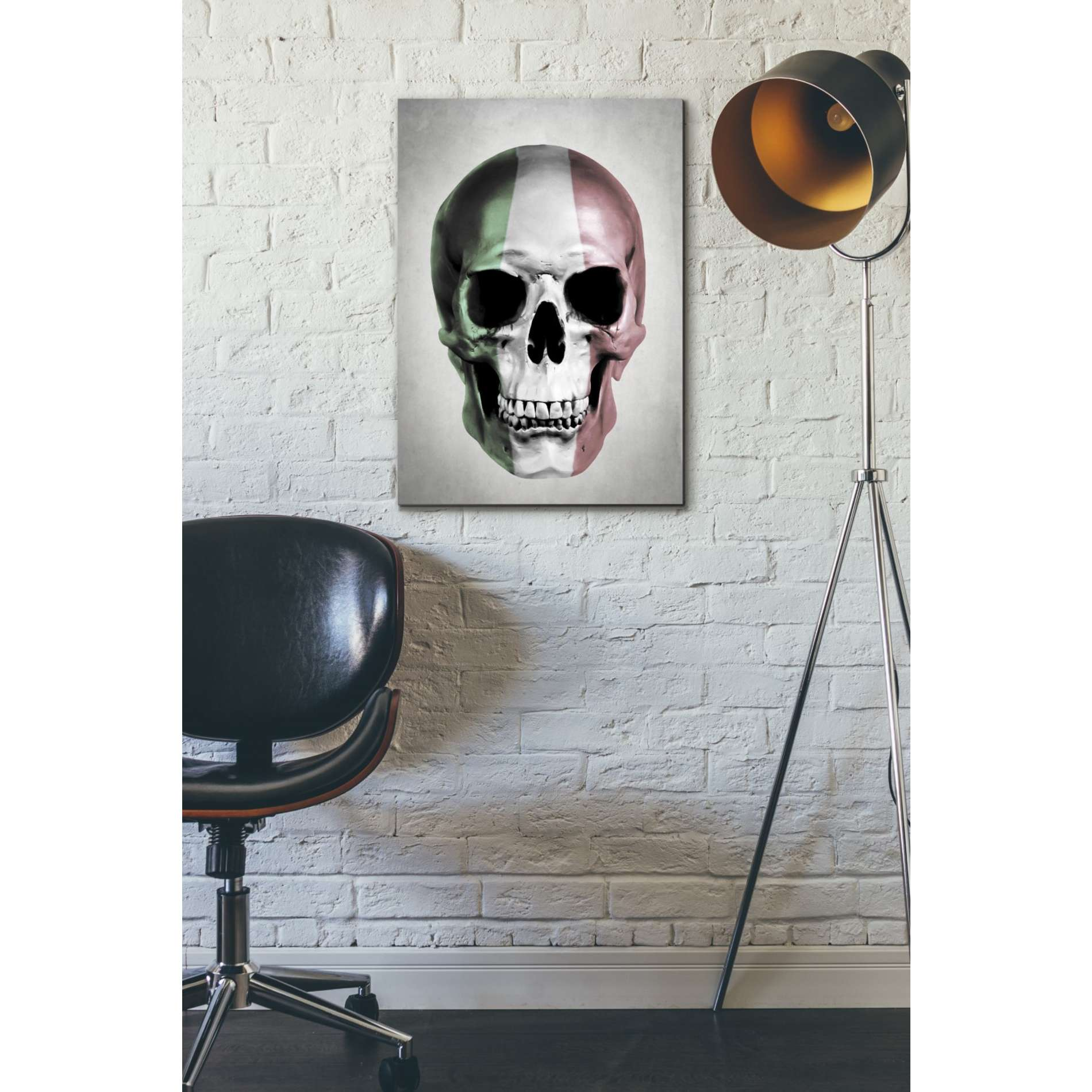 "Cortesi Home ""Italian Skull Grey"" by Nicklas Gustafsson, Giclee Canvas Wall Art"