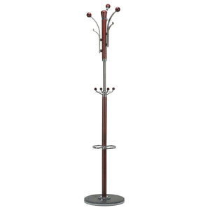 Cortesi Home Alpine Dark Chrome and Red Wood Coat Rack, Dark Marble