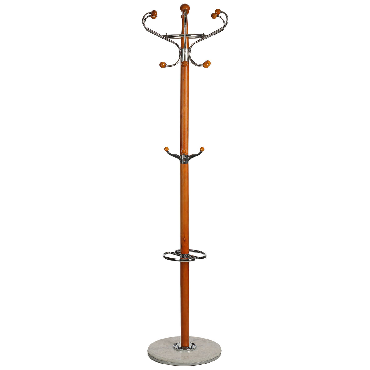 Cortesi Home Optima Light Six Foot Chrome and Natural Wood Coat Rack, Light Marble