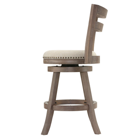 Image of Cortesi Home Harper Counter Stool Swivel Bar Stool with Back in Solid Oak Wood, Beige Fabric