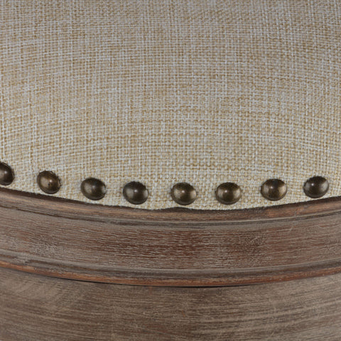 Image of Cortesi Home Sadie Backless Swivel Counter Stool in Solid Wood & Beige Fabric