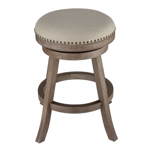 Cortesi Home Sadie Backless Swivel Counter Stool in Solid Wood & Beige Fabric