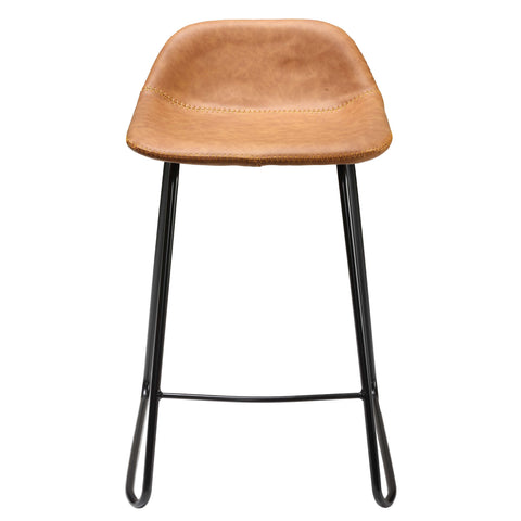 Image of Cortesi Home Ava Counterstools in Saddle Brown faux Leather (Set of 2)