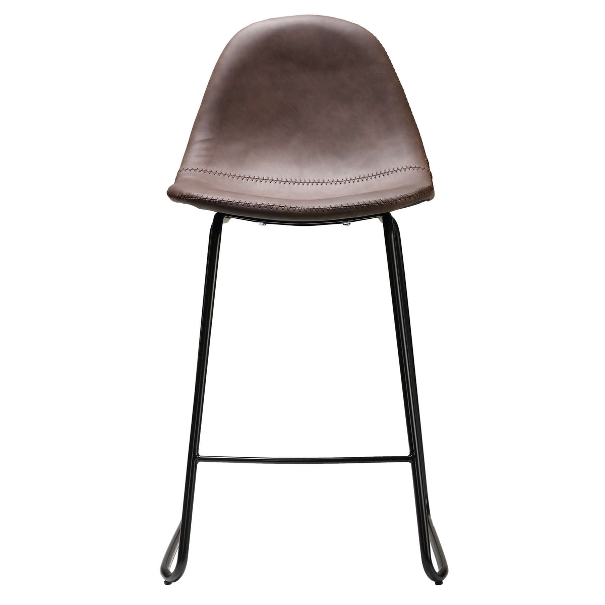"Cortesi Home Gavin 24"" Counterstool in faux Brown Leather (Set of 2)"