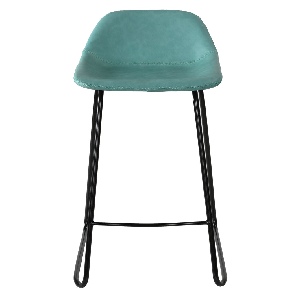 Cortesi Home Ava Counterstools in Aqua Blue Faux Leather (Set of 2)