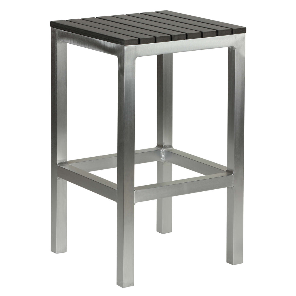 "Haven Aluminum Outdoor Backless Counter Stool in Slate Grey Poly Resin in Brushed Aluminium, 14""x14""x24"""