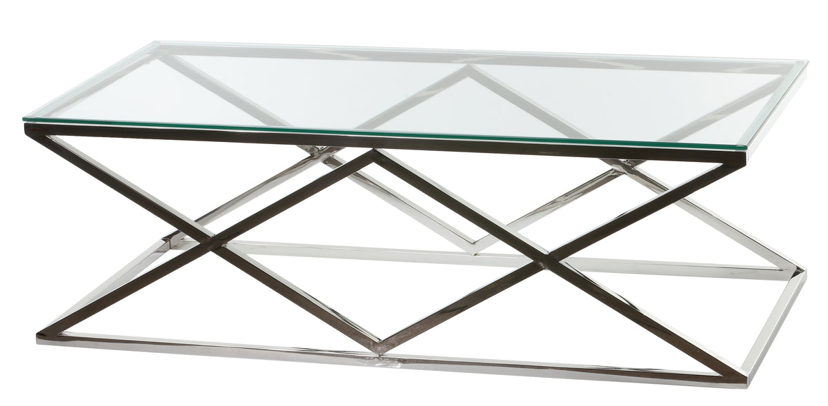Cortesi Home Gwen Contemporary Glass Coffee Table