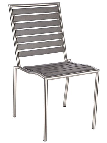 Cortesi Home Tarou Stainless Steel Outdoor Chair in Slate Grey Poly Resin, Brushed Nickel Finish (Set of 2)