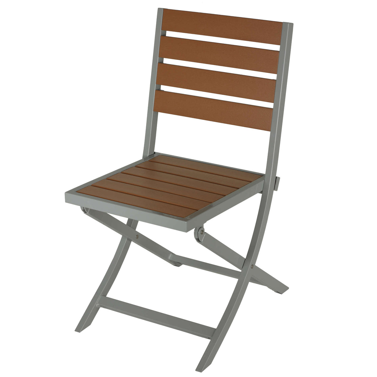 Cortesi Home Avery Aluminum Outdoor Folding Chair in Teak Color Poly Resin, 1 chair