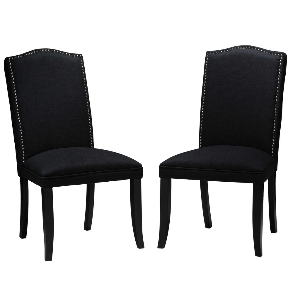 Cortesi Home Duomo Black Linen Crown Back Dining Chair (Set of 2)