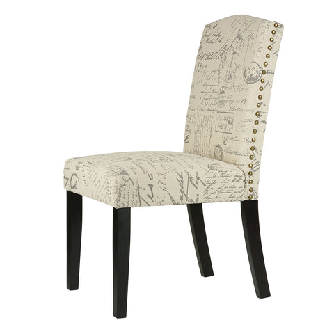 Cortesi Home Beckett Script  Dining Chair in Beige Linen (Set of 2)