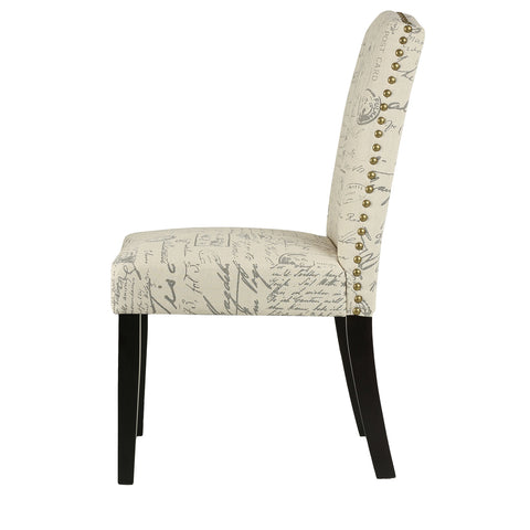 Image of Cortesi Home Beckett Script  Dining Chair in Beige Linen (Set of 2)