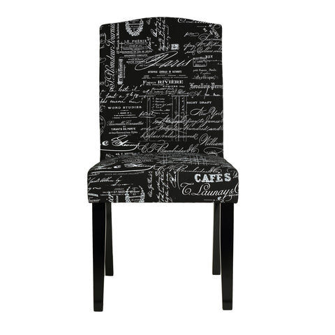Cortesi Home Beckett Black Script Dining Chair in Linen (Set of 2)