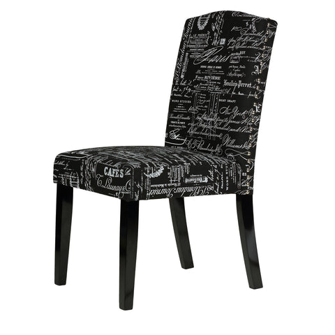 Image of Cortesi Home Beckett Black Script Dining Chair in Linen (Set of 2)