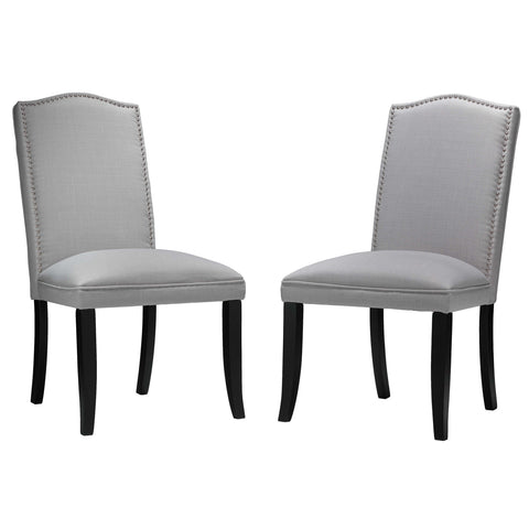 Image of Cortesi Home Duomo Stone Grey Linen Crown Back Dining Chair (Set of 2)