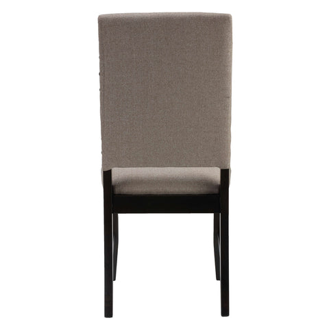 Image of Cortesi Home Set of 2 Manchester Dining Chairs in Taupe Fabric with Black Legs and Nailhead Accents
