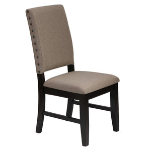 Cortesi Home Set of 2 Manchester Dining Chairs in Taupe Fabric with Black Legs and Nailhead Accents
