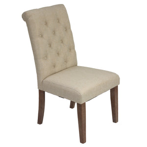 Cortesi Home Bradford Dining Chairs in a Soft Beige Linen with Tufted Back and , Set of 2