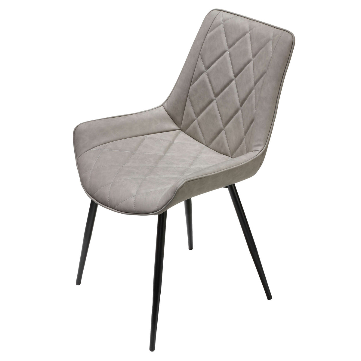 Cortesi Home Ellie Dining Chairs in Gray faux Leather, Set of 2