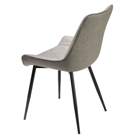 Image of Cortesi Home Ellie Dining Chairs in Gray faux Leather, Set of 2