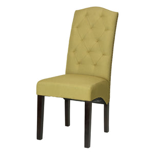 Cortesi Home Perri Camelback Dining Chair in Citron Green Linen (Set of 2)