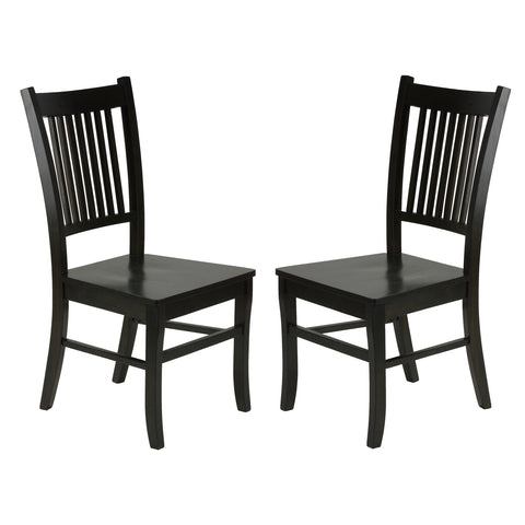 "Cortesi Home ""America"" Mission Style Wooden Dining Chairs, Set of 2, Light Black Oak Finish"