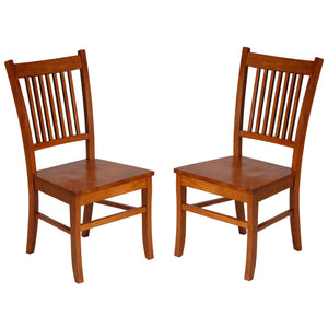 "Cortesi Home ""America"" Mission Style Wooden Dining Chairs, Set of 2,Honey Oak"