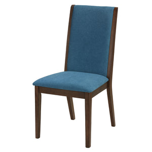 Cortesi Home Kendall Dining Chairs Walnut Color with Fabric, Teal Blue (Set of 2)