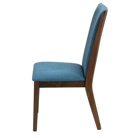 Image of Cortesi Home Kendall Dining Chairs Walnut Color with Fabric, Teal Blue (Set of 2)