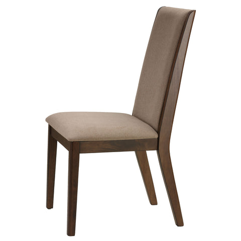 "Cortesi Home Dining Side Chairs ""Kendall"" in Walnut Color with Fabric, Truffle Taupe Fabric (Set of 2)"