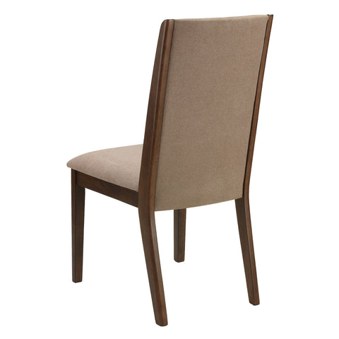 "Image of Cortesi Home Dining Side Chairs ""Kendall"" in Walnut Color with Fabric, Truffle Taupe Fabric (Set of 2)"