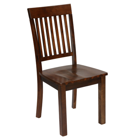 Cortesi Home Kingston Mission Style Dining Chairs in Solid Wood Walnut Finish, Set of 2