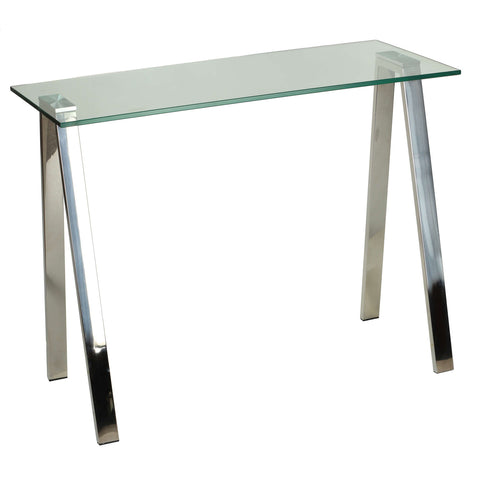 Image of Cortesi Home Trixie Glass Top Desk / Console Table with Stainless Steel Frame