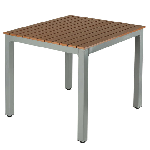 Image of Avery Aluminum Outdoor Table in Poly Resin, Silver/Teak