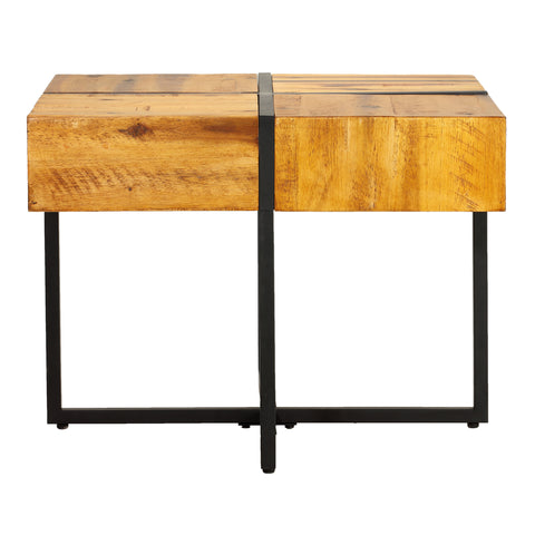 Cortesi Home Landon End Table, Solid Wood with Black Metal Frame