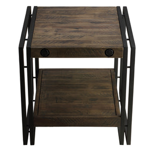 Cortesi Home Penni End Table, Solid Wood with Black Metal Frame, Dark Grey