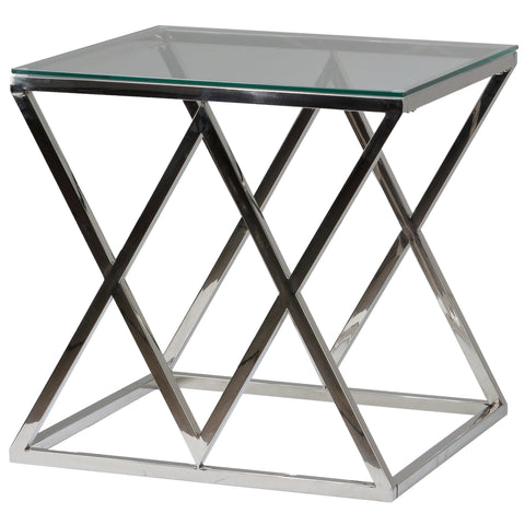 Image of Cortesi Home Gwen Contemporary Glass End Table