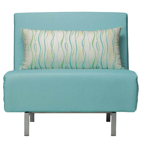 Cortesi Home Savion Aqua Convertible Accent Chair Bed