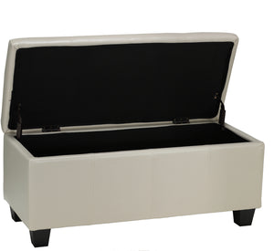 Cortesi Home Vera Storage Ottoman in Cream Leather like Vinyl